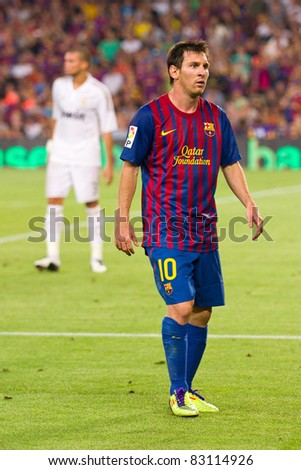 BARCELONA - AUGUST 17: Leo Messi during the Spanish Supercup final match between FC Barcelona and Real Madrid, final score 3 - 2, on August 17, 2011 in Barcelona, Spain. - stock photo