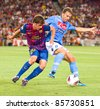 BARCELONA - AUGUST 22: Sergio Roberto (L) and Hugo Campagnaro (R) during the Gamper Trophy match between FC Barcelona and SSC Napoli, 5 - 0, on August 22, 2011, in Camp Nou stadium, Barcelona, Spain. - stock photo