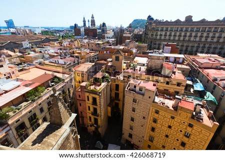 Barcelona - Barrio Gotico from Santa Maria del mar. Catalonia, Spain - stock photo