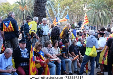 Barcelona, Catalionia, Spain October 10. 2017: pro independence rally crowd wait for the Catalonian president to speak