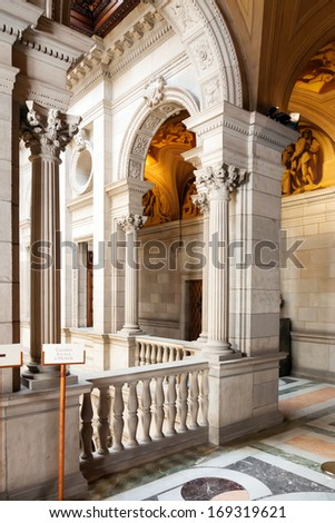 BARCELONA, CATALONIA - APRIL 23: Interior of of Ajuntament de Barcelona in April 23, 2013 in Barcelona, Catalonia.  Staircase of Honor was built by the municipal architect  Falques in 1894