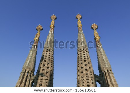 BARCELONA, CATALONIA / SPAIN - CIRCA 2007: Temple of the Sagrada Familia. View the 4 towers. Designed by Antonio Gaudi. One of the important monuments of Barcelona. - stock photo
