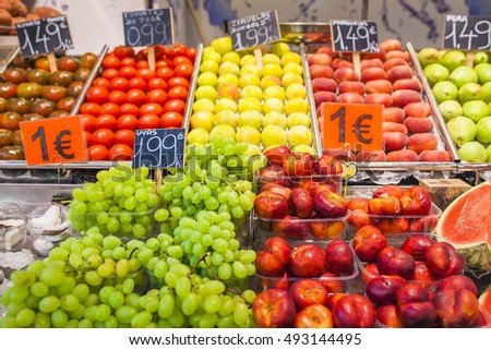 Barcelona, Catalonia, Spain - July 21, 2015 - Fruit for sale at the Mercat de Sant Josep de la Boqueria.