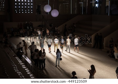 Barcelona, Catalunya / Spain - 06 29 : A group of male model prepares the catwalk in group during the 080 Barcelona Fashion week on 2016/06/29 in Barcelona (Spain). - stock photo
