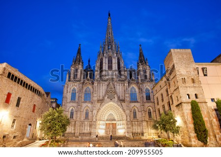 Barcelona Cathedral at night, Gothic Quarter (Barri Gotic) of the city, Catalonia, Spain. - stock photo