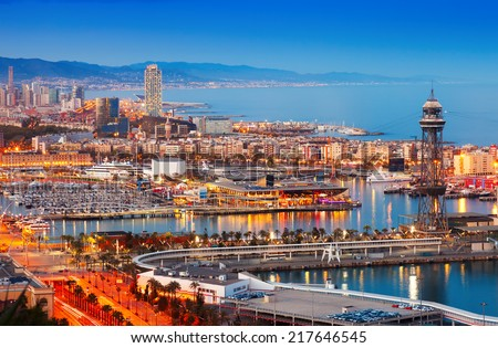 Barcelona city and Port in evening. Catalonia, Spain - stock photo