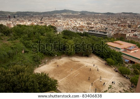 Barcelona city view from Montjuich mountain