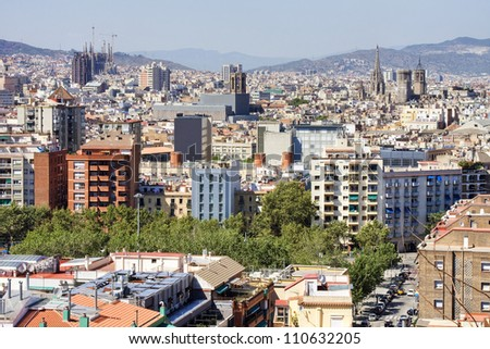 Barcelona cityscape. Aerial view seen from Montjuic hill. - stock photo