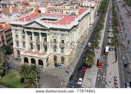Barcelona cityscape. Aerial view seen from the Columbus Column. - stock photo