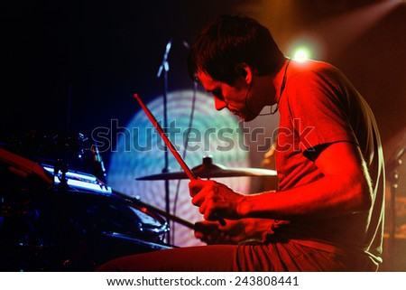 BARCELONA - DEC 12: Caribou drummer, performs at Discotheque Razzmatazz on December 12, 2010 in Barcelona, Spain. Razzmatazz celebrates his 10th anniversary. - stock photo