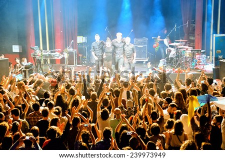 BARCELONA - DEC 05: Fuel Fandango (electronic, funk, fusion and flamenco band) performs at Apolo (venue) on December 05, 2014 in Barcelona, Spain. - stock photo