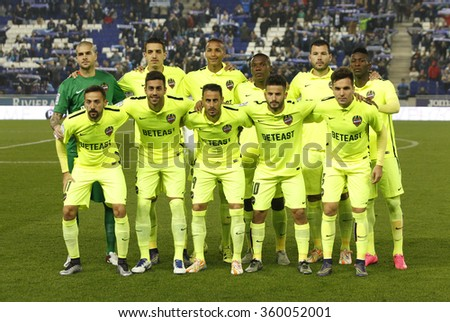 BARCELONA - DEC, 7: Levante UD lineup posing before a Spanish League match against RCD Espanyol at the Power8 stadium on December 7, 2015 in Barcelona, Spain - stock photo