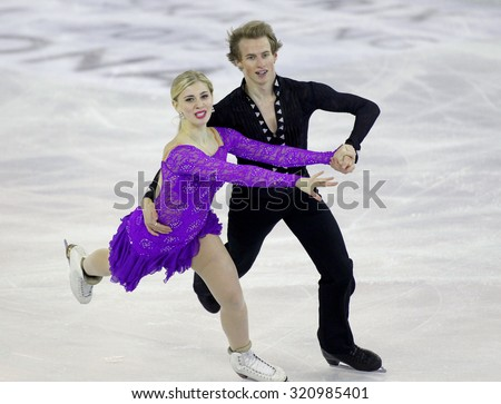 BARCELONA - DEC, 11: Mackenzie Bent Garrett Mackeen from Canada during Junior Pairs Ice Dance event of ISU Grand Prix of Figure Skating Final 2014 at CCIB on December 11, 2014 in Barcelona, Spain - stock photo
