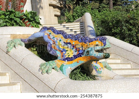 BARCELONA - Dec 05: the mosaic salamander at the entrance of Guell Park, designed by Antoni Gaudi. December 05, 2014, Barcelona, Spain - stock photo