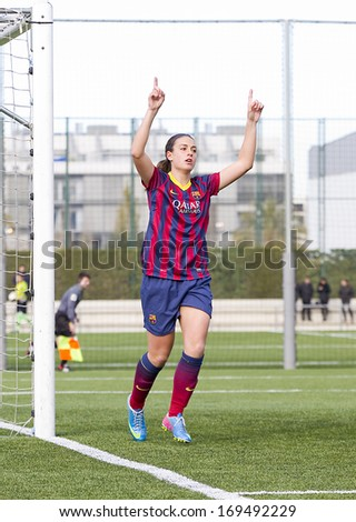 BARCELONA - DECEMBER 21: Alexia Putellas celebrating a goal at Superliga - Women's Football Spanish League - match between FC Barcelona and Levante UD, 1-0, on December 21, 2013, in Barcelona, Spain.
