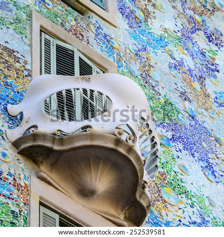 BARCELONA - DECEMBER 30 2015 : Casa Batllo on DECEMBER 30, 2015 in Barcelona, Spain. This famous building was designed by Antoni Gaudi and is one of the most visited of the city - stock photo