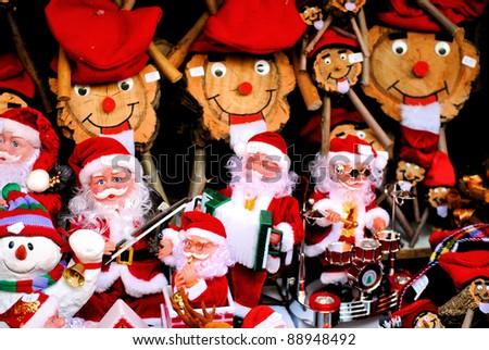 BARCELONA - DECEMBER 12; Christmas fair Santa Llucia on the Cathedral area. Lasts 3-23 December,  Christmas ornaments. 12, 2010, Barcelona, Spain, Catalonia - stock photo