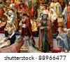 BARCELONA - DECEMBER 11; Figures for Christmas scenes. Christmas fair Santa Llucia on the Cathedral area. Lasts 3-23 December. 11, 2010, Barcelona, Spain, Catalonia - stock photo