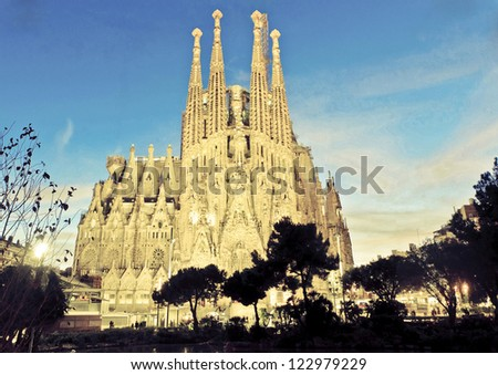 BARCELONA - DECEMBER 27: La Sagrada Familia, cathedral designed by Antoni Gaudi that is being build since 1882, on December 27, 2012, Barcelona, Spain. - stock photo