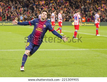 BARCELONA - DECEMBER 16: Lionel Messi celebrating a goal at the Spanish League match between FC Barcelona and Atletico de Madrid, final score 4-1, on December 16, 2012, in Camp Nou, Barcelona, Spain.