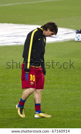 BARCELONA - DECEMBER 13: Nou Camp stadium, FC Barcelona - Real Sociedad, 5 - 0. In the picture, Leo Messi. December 13, 2010 in Barcelona - stock photo