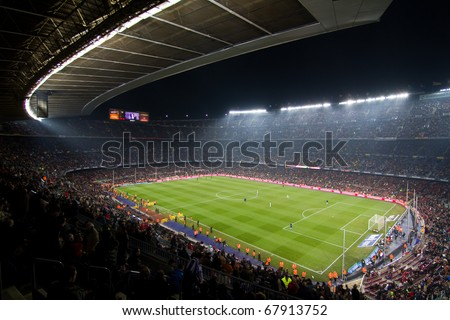 BARCELONA - DECEMBER 13: Nou Camp stadium, spanish soccer league, FC Barcelona - Real Sociedad, 5 - 0. December 13, 2010 in Barcelona (Spain). - stock photo