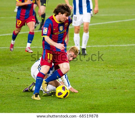 BARCELONA - DECEMBER 13: Nou Camp stadium, Spanish Soccer League match: FC Barcelona - Real Sociedad, 5 - 0. In the picture, Leo Messi in action. December 13, 2010 in Barcelona (Spain). - stock photo