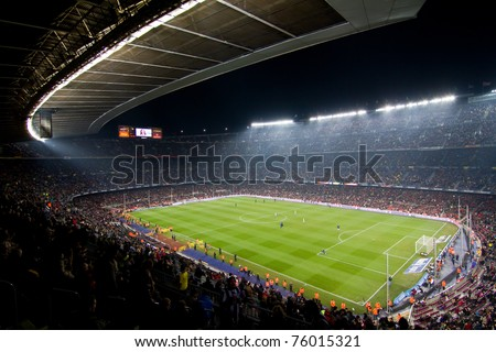 BARCELONA - DECEMBER 13: Panoramic view of the Camp Nou, the stadium of Football Club Barcelona team, before the match FC Barcelona - Real Sociedad, 5 - 0. December 13, 2010 in Barcelona, Spain. - stock photo