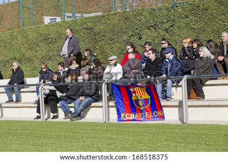 BARCELONA - DECEMBER 21: Some supporters at Superliga - Women's Football Spanish League - match between FC Barcelona and Levante UD, 1-0, on December 21, 2013, in Barcelona, Spain. - stock photo