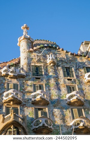 BARCELONA - December 30: The facade of the house Casa Batllo designed by Antoni Gaudi� with his famous expressionistic style on December 30, 2014 Barcelona, Spain - stock photo