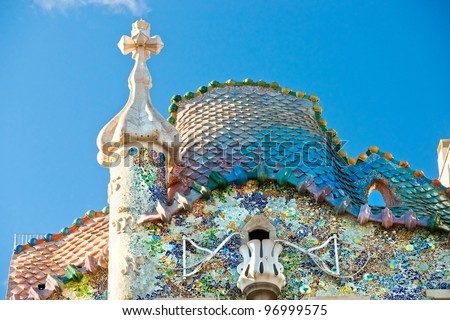 BARCELONA - DECEMBER 16: The facade of the house Casa Battlo (also could the house of bones) designed by Antoni Gaudi���­ with his famous expressionistic style on December 16, 2011 Barcelona, Spain - stock photo