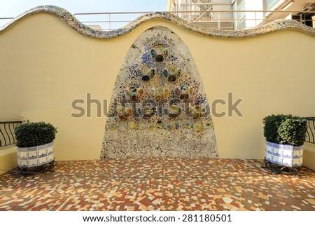 BARCELONA - DECEMBER 23: The house Casa Batllo designed by Antoni Gaudi on December 23, 2014 in Barcelona, Spain. - stock photo