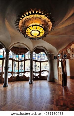 BARCELONA - DECEMBER 23: The house Casa Batllo (interior) designed by Antoni  Gaudi