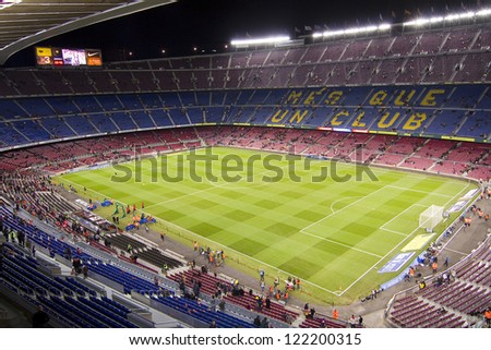 BARCELONA - DECEMBER 16: View of Camp Nou stadium before the Spanish League match between FC Barcelona and Atletico de  Madrid, final score 4 - 1, on December 16, 2012, in Barcelona, Spain.