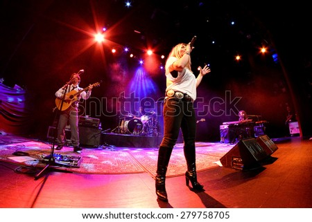 BARCELONA - FEB 28: Amaia Montero (artist) performs live on stage during a concert at Barts Stage on February 28, 2015 in Barcelona, Spain. - stock photo