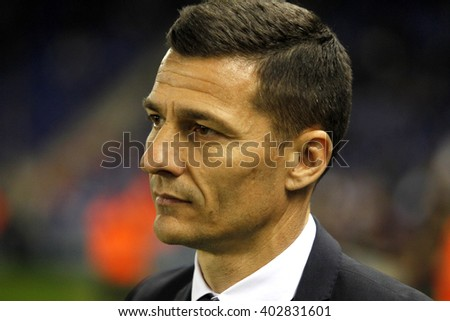BARCELONA - FEB, 8: Constantin Galca coach of RCD Espanyol fighting during a Spanish League match against Real Sociedad at the Power8 stadium on February 8, 2016 in Barcelona, Spain