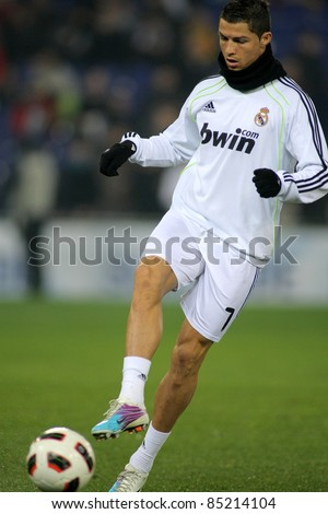 BARCELONA - FEB 13: Cristiano Ronaldo of Real Madrid before a spanish league match between Espanyol and Real Madrid at the Estadi Cornella on February 13, 2011 in Barcelona, Spain - stock photo
