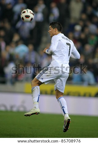 BARCELONA - FEB, 13: Cristiano Ronaldo of Real Madrid in action during a spanish league match between Espanyol and Real Madrid at the Estadi Cornella on February 13, 2011 in Barcelona, Spain - stock photo