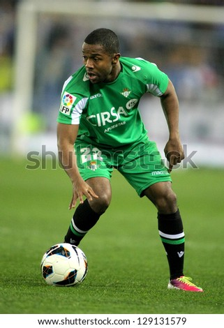 BARCELONA - FEB, 17: Dorlan Pabon of Betis during the Spanish League match between Espanyol and Betis at the Estadi Cornella on February 17, 2013 in Barcelona, Spain - stock photo