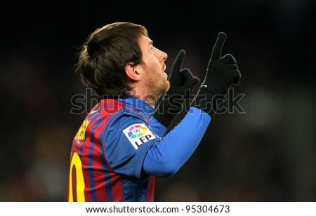 BARCELONA - FEB, 4: Leo Messi of FC Barcelona celebrates goal during spanish league match between FC Barcelona vs Real Sociedad at the Camp Nou stadium on February 4, 2012 in Barcelona, Spain - stock photo