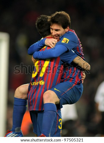 BARCELONA - FEB, 19: Leo Messi of FC Barcelona celebrating goal during the Spanish league match against Valencia CF at the Camp Nou stadium on February 19, 2012 in Barcelona, Spain - stock photo