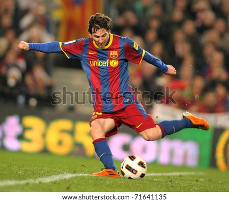 BARCELONA - FEB 20: Messi of Barcelona in action during the match between FC Barcelona and Athletic de Bilbao at the Nou Camp Stadium on February 20, 2011 in Barcelona, Spain - stock photo