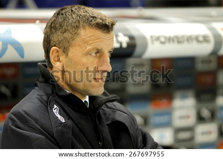 BARCELONA - FEB, 27: Miroslav Djukic Cordoba trainer CF during a Spanish League match against RCD Espanyol at the Estadi Cornella on February 27, 2015 in Barcelona, Spain - stock photo