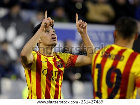 BARCELONA - FEB, 1: Munir El Haddadi of FC Barcelona B celebrates goal during a Spanish League match against CE Sabadell at the Nova Creu Alta on February 1, 2015 in Sabadell, Spain - stock photo