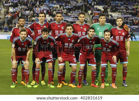BARCELONA - FEB, 8: Real Sociedad lineup before a Spanish League match against RCD Espanyol at the Power8 stadium on February 8, 2016 in Barcelona, Spain - stock photo
