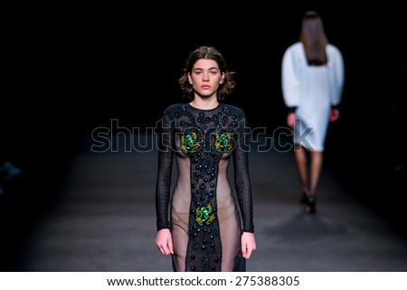 BARCELONA - FEB 4: Steffy Argelich (model) walks the runway for the Page collection at the 080 Barcelona Fashion Week 2015 Fall Winter on February 4, 2015 in Barcelona, Spain. - stock photo