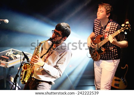 BARCELONA - FEB 14: The Free Fall Band (band from Catalonia) performs at Bikini Club on February 14, 2014 in Barcelona, Spain. - stock photo