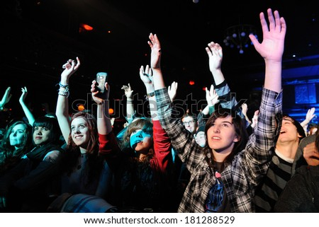 BARCELONA - FEB 09: The Sounds (Swedish indie rock revival band) performs at Apolo on February 09, 2012 in Barcelona, Spain. - stock photo