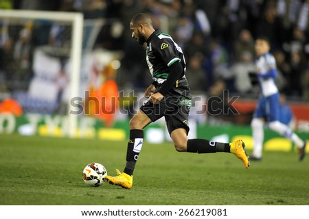 BARCELONA - FEB, 27: Tiago Manuel Dias of Cordoba CF during a Spanish League match against RCD Espanyol at the Estadi Cornella on February 27, 2015 in Barcelona, Spain - stock photo