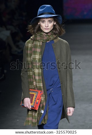 BARCELONA - FEBRUARY 04: a model walks on the Yerse catwalk during the 080 Barcelona Fashion runway Fall/Winter 2015 on February 04, 2015 in Barcelona, Spain.  - stock photo